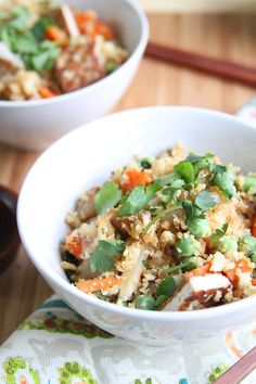 Chinese Five Spice Cauliflower Rice - Fried Rice just got a major upgrade thanks to some chinese 5 spice and sriracha sauce. Made using riced cauliflower this is one dish that packs in a ton of veggies and tons of protein thanks to the crispy tofu.