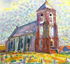 MONDRIAN 1872 - 1944 Church In Zoutelande Not the style Piet Mondrian is most famous for, but a great piece of ART!PIET MONDRIAN 1872 - 1944 Church In Zoutelande Not the style Piet Mondrian is most famous for, but a great piece of ART! Piet Mondrian, Kandinsky, Dutch Artists, Famous Artists, Theo Van Doesburg, Dutch Painters, Art Moderne, Art History, Modern Art