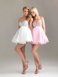 Cute strapless dresses with diamonds at the top  in the colors pink or white