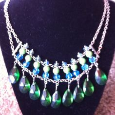Blue and green statement necklace with silver tone New without tags blue and green statement necklace. Sliver tone. Jewelry Necklaces