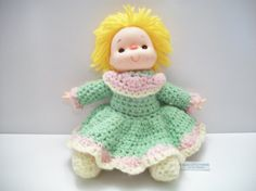 vintage crochet doll with yarn hair by ALEXLITTLETHINGS on Etsy, $17.99