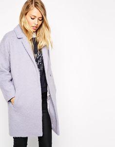 pastel lilac coat.