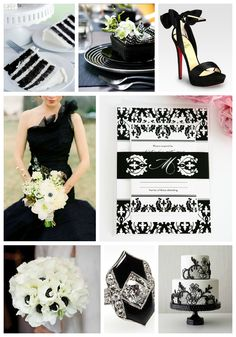 Black and white wedding inspiration #blackandwhite #weddinginspiration #wedding #black #white #damask #elegant #chic