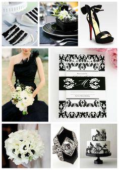 Black and white wedding inspiration #blackandwhite #weddinginspiration #wedding #black #white #damask #elegant #chic