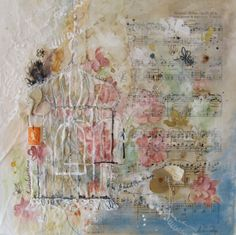 Hollie Caley -  inspirational textures created by a combination of drawing, printing, machine stitch and collage. Additional trinkets and memorabilia including buttons, pearls, stamps and storybook pages
