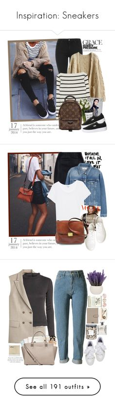 """""""Inspiration: Sneakers"""" by chocolatepumma ❤ liked on Polyvore featuring Topshop, Louis Vuitton, Puma, New Look, MANGO, Splendid, Kenneth Cole, MaxMara, Casetify and Maison Scotch"""