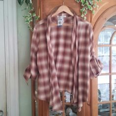 American Rag Shrug New Plaid open front shrug with long sleeves that can roll up to button attatchment,comfortable,100% cotton American Rag Other