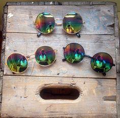 Rainbow Mirror Sunglasses Oversized Circle Hippie Glasses - Lennon