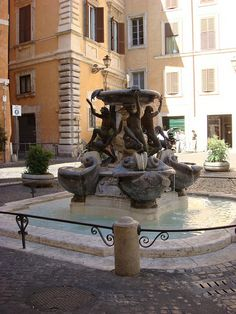 La fontana delle Tartarughe Drinking Fountain, Rome, Italy, Explore, Vacation, Outdoor Decor, Water Trough, Vacations, Rum