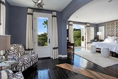 Paint like 'Devine Shark' - our handsome bedroom color. Love it with the wood floors. @Gretchen Schauffler