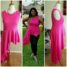 @lilith Cascading Pink Peplum-Plus Size 1XL Photos do not do this justice. I love this unique hot pink top and how it flows. Great for casual to any dressy event depending on what bottoms you put with it. True to size. Dress this up or down with leggings, jeans or a skirt. Firm price unless bundled. Price has already been reduced. LaShay Boutique Tops