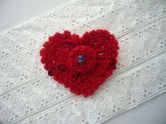 Crochet Heart Brooch Red Cashmere Romantic by CraftsbySigita,