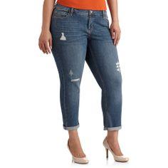 811e1f962519a Faded Glory - Women's Plus-Size Distressed Boyfriend Jeans - Walmart.com
