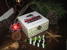 """Купить """"Доставка"""" - комбинированный, шкатулка, шкатулка для украшений, шкатулка декупаж, новогодняя шкатулка, Новый Год"""