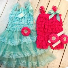 This sister set comes with a teal petti dress with adorned bright pink flower and a bright pink matching little sister romper. Comes with two matching headband! Great for girls for birthdays, weddings, and those family photos.