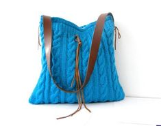 Knit shoulder / hobo bag turquoise wool cable by BagsbyMellysse, $75.00