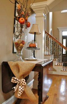 For Fall -Burlap table runner with bow (cute and easy!) front table (sofa table)