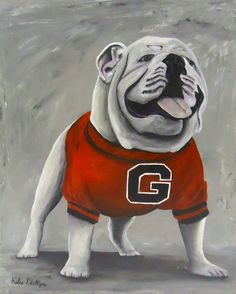 """Bulldog Painting """"Damn Good Dawg: An original acrylic painting on canvas by Katie Phillips, $275.00"""