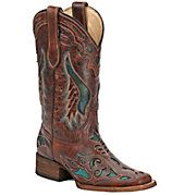 If my computer could whistle...  @cavenders.com  {{Corral® Ladies Distressed Cognac Brown w/ Turquoise Inlay Square Toe Western Boots}}