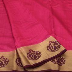 Raw Silk Saree Pink and Maroon with Floral zari border