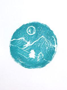 Linocut lino print mountain to the moon.