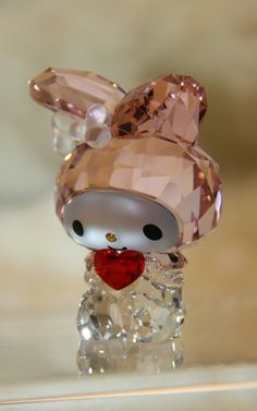 My Melody Red Heart Swarovski Crystal Figurines, Swarovski Crystals, Crystal Gallery, Sea Glass Colors, Kawaii Jewelry, Hello Kitty Collection, Glass Figurines, Crystal Collection, Decorative Items