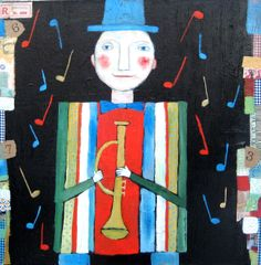 Mr. Music,© Barbara Olsen Mixed media on canvas.24x24.........This is the second image of a music man.  i love the color and Music
