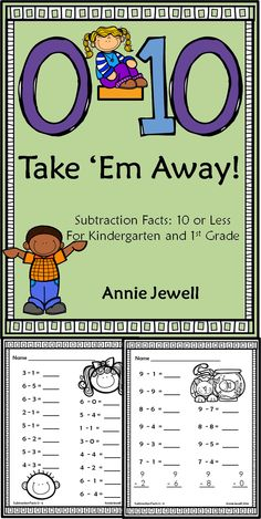 Subtraction Facts Worksheets for Kindergarten and 1st Grade. 10 or less. 40 pages of worksheets. Great for morning work or homework. Improve math fluency! COMMON CORE: KOA1, KOA5, 1OA6, 1OA8.