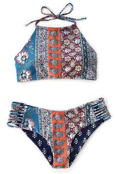 Cupshe Fashion Women's Floral Printing Halter Padding Bikini Set Beach Swimwear (S)