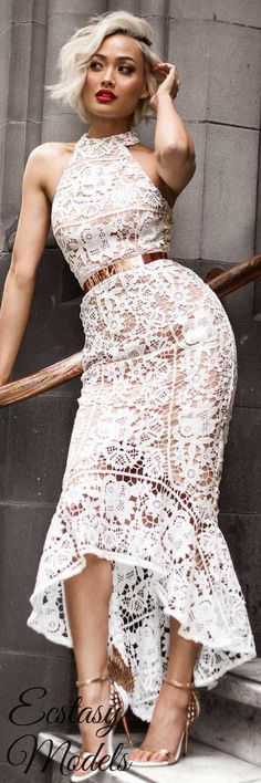 The perfect little white lace dress by @jarlolondon // Fashion Look by Micah Gianneli
