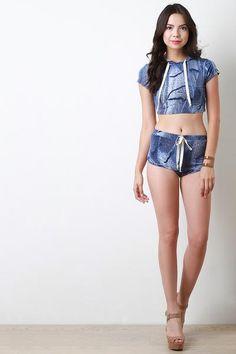 Denim Print Drawstring Shorts