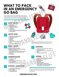 What to pack in an emergency go bag, and be prepared for any natural disaster! Includes a free printable Emergency Go Bag packing list. Emergency Go Bag, Emergency Binder, Emergency First Aid Kit, Emergency Preparation, Emergency Supplies, Emergency Backpack, Survival List, Survival Prepping, Survival Shelter
