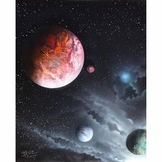 Space Painting  Spray Paint Art  Planets  Galaxy  Deep