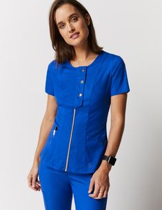 Snap Front Top in Royal Blue is a contemporary addition to women's medical scrub outfits. Shop Jaanuu for scrubs, lab coats and other medical apparel. Scrubs Outfit, Scrubs Uniform, Nursing Clothes, Nursing Dress, Medical Uniforms, Nursing Uniforms, Lab Coats, Medical Scrubs, Nursing Scrubs