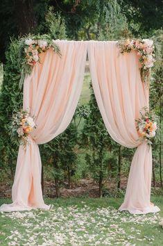 Lilac Wedding Arch Chiffon Panels, Canopy Draping, Chuppah Drapes with rod pocket Lilac Wedding, Wedding Colors, Wedding Bouquets, Wedding Flowers, Peach Wedding Decor, Chair Decor Wedding, Wedding Yellow, Garland Wedding, Wedding Ceremony