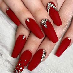 Rich Red Matte Nail Design ❤ 30 Ideas of Luxury Nails To Really Dazzle ❤ See. - Rich Red Matte Nail Design ❤ 30 Ideas of Luxury Nails To Really Dazzle ❤ See more ideas on our - Red Matte Nails, Red Nail Art, Red Acrylic Nails, Red Nails With Glitter, Long Red Nails, Pastel Nails, Yellow Nails, Red And Silver Nails, Red Tip Nails
