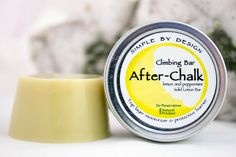 My Handmade After-Chalk Lemon and Peppermint climbing bar is a top layer moisturizer & softener that still preserves calluses. It moisturizes, protects and soothes without added chemicals. Made with Tamanu Oil, which has natural antioxidant, anti-bacterial & anti-inflammatory properties. Peppermint essential oil has natural anti-fungal properties & is used in aromatherapy to calm nerves. Both peppermint & lemon essential oils act as natural bug repellents! Our bars are preservative free.