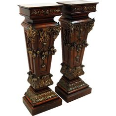 7625 Pair of Carved Wood Pedestals from antiquariantraders on Ruby Lane