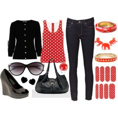 Love black, white and red polka dot!
