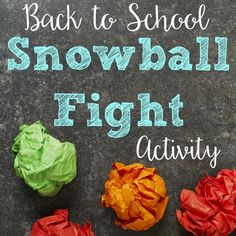"This back to school ""snowball"" fight activity will have your students getting up and out of their seats moving around the room to get to know each other."