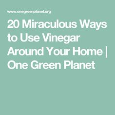 20 Miraculous Ways to Use Vinegar Around Your Home | One Green Planet