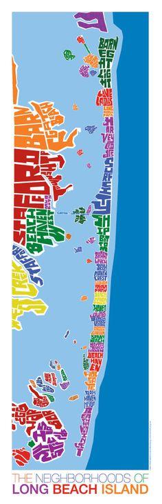 Long Beach Island New Jersey Rainbow Type Map by typemaps on Etsy