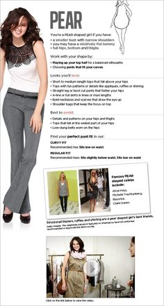 PEAR SHAPED WOMEN- Fit guide Love the fit guide and how it helps you shop in store for what looks good on you.