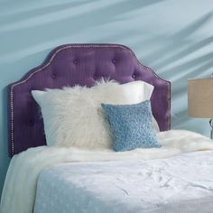 size full dark headboard queen king bed upholstered tufted wing back purple extra