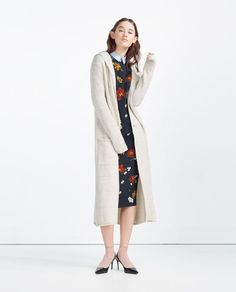 Image 1 of LONG JACKET WITH HOOD from Zara