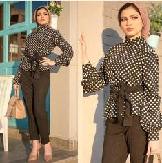 polka dots blouse-Pre-spring hijab outfits – Just Trendy Girls Muslim Fashion, Modest Fashion, Hijab Fashion, Fashion Outfits, Hijab Chic, Blouse Styles, Blouse Designs, Hijab Style Tutorial, Hijab Collection