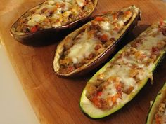 Stuffed Eggplant and Zucchini Eggplant Zucchini, Zucchini Squash, Ground Meat, Meal Planner, Calorie Diet, Stuffed Eggplant, Good Food, Vegetarian, Stuffed Peppers