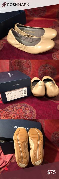 Women's ZERØGRAND Stagedoor Stud Ballet Flat NWT MAPLE SUGAR 7B, runs true to size  Supple nappa leather wraps this pretty wardrobe staple, while a sturdy rubber outsole infused with Grand.OS technology makes it perfect for all-day wear. Pair this style with skinny denim, cigarette pants or an A-line dress.   Smooth nappa leather upper. Gold-tone logo stud on heel. Fully lined. Fully padded sock lining. Full rubber outsole with concealed Grand.OS technology for ultimate comfort. Cole Haan…