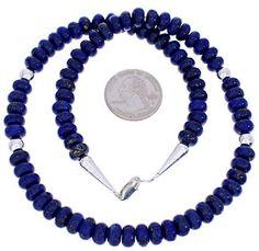 Navajo Lapis Genuine Sterling Silver Jewelry Bead Necklace MW75040
