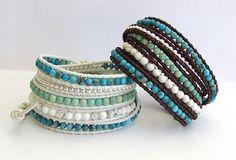 Cuir turquoise Wrap Bracelet  perles Turquoise par fabflamingowraps, $49.95